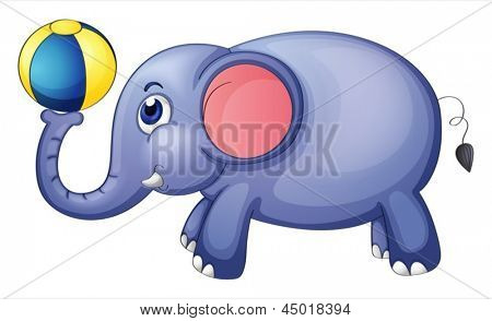 Illustration of an elephant playing with a ball on a white background