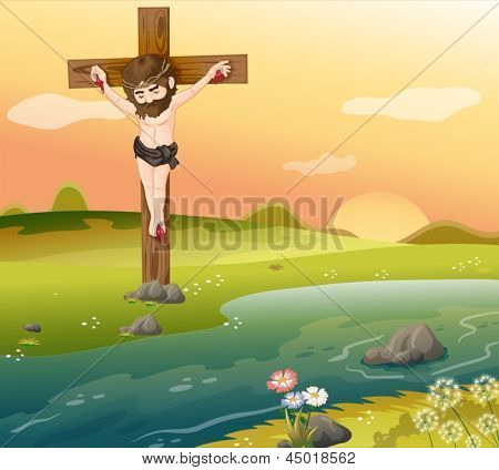 Illustration of a cross at the riverside