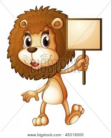 Illustration of a lion holding an empty sign board on a white background