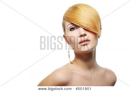 Beautiful Blond Woman With Creative Hairstyle