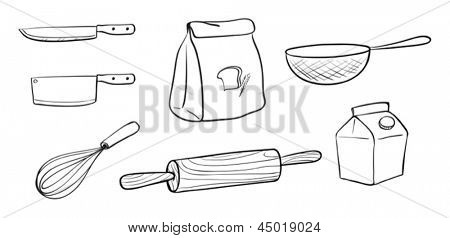 Illustration of the different kinds of baking tools on a white background