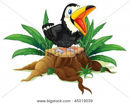 Illustration of a black bird above the wood on a white background