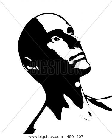 Bald Guy High Contrast Vector