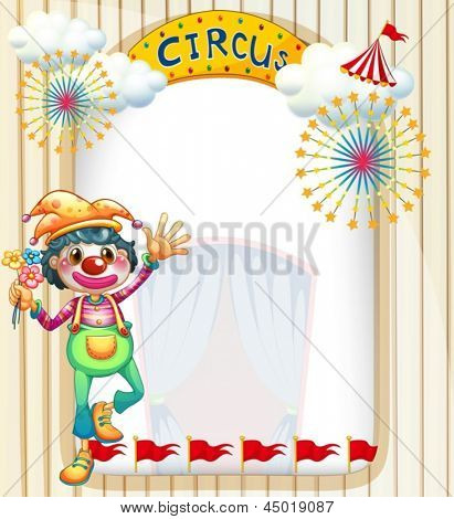 Illustration of a clown at the circus entrance