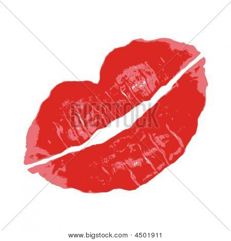 Kissy Lipstick Smudge Vector