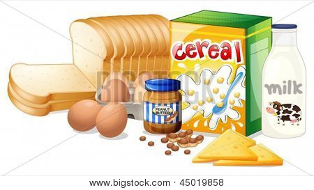Illustration of the foods ideal for breakfast on a white background