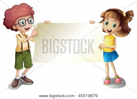 Illustration of a young girl and a young boy holding an empty signboard on a white background