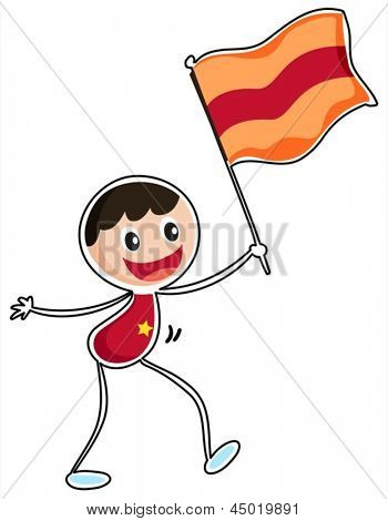 Illustration of a boy holding a flag on a white background