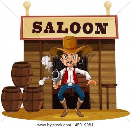 Illustration of a man holding a gun outside the saloon bar  on a white background