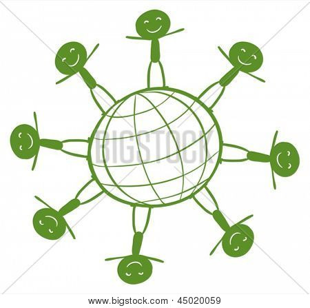 Illustration of the kids around the green globe on a white background