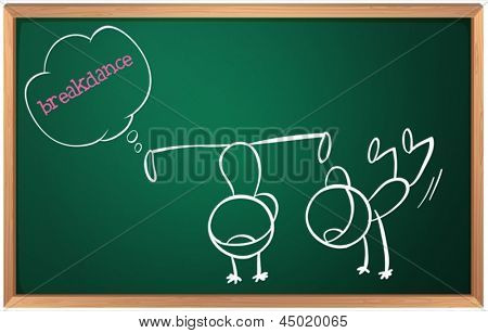 Illustration of a blackboard with a drawing of two boys breakdancing on a white background