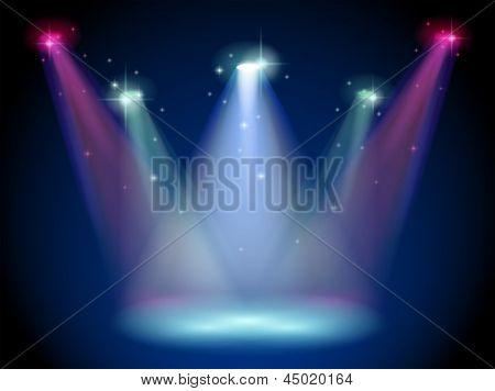 Illustration of a stage with colorful spotlights