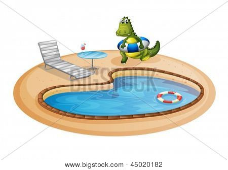 Illustration of a swimming pool with a crocodile inside a buoy on a white background