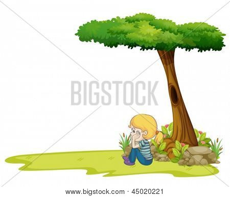 Illustration of a girl sitting under the big tree on a white background