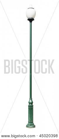lamppost. Electric street light. Isolated on white background. green lamp post with a round lamp, made in ancient style
