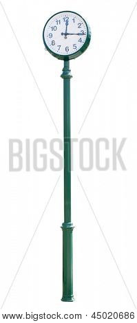 street clock on green column. Isolated over white background.