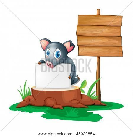 Illustration of a pig holding an empty paper on a stump beside an empty wooden signboard on a white background