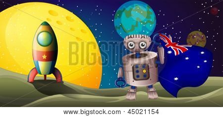 Illustration of a rocket and a robot with the flag of Australia