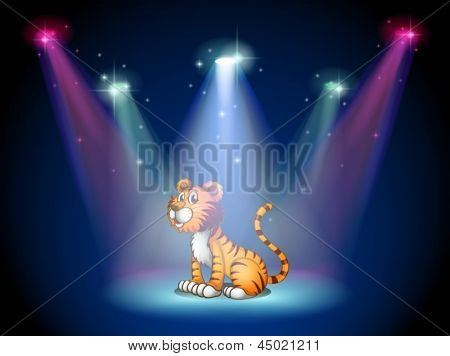 Illustration of a tiger sitting on the stage with spotlights