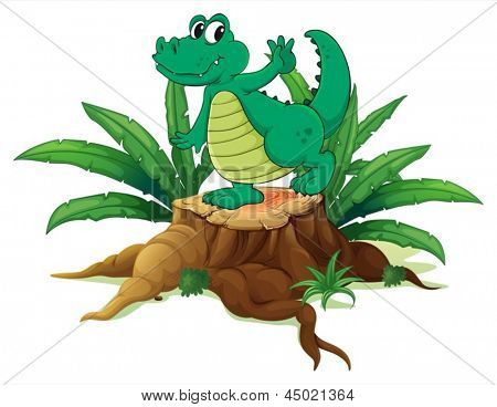 Illustration of a playful crocodile above the wood on a white background