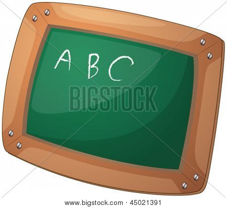 Illustration of a blackboard with letters on a white background