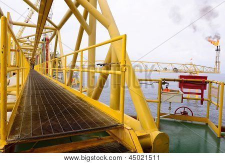 The Pathway Bridge Of Offshore Oil Rig