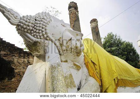 Ayutthaya- March 2: Reclining Buddha In Wat Yai Chai Mongkol, Ayutthaya, Thailand