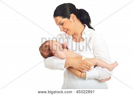 Mother Holding Crying Newborn Baby