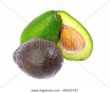 Mix Of Green And Hass Avocadoes.