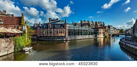Ghent canal and medieval building. Ghent, Belgium