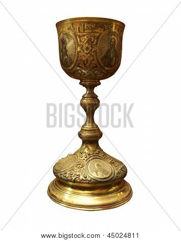 Vintage Golden Church Utensil Isolated Over White