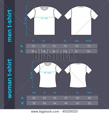 T-shirt men and woman. Table sizes shirt.