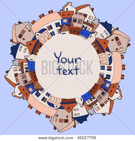 Panoramic old town frame background on blue, vector