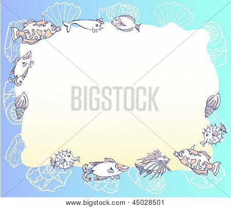 Blue Background With With Fishes And Cockleshell