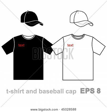 T-shirt men's and baseball cap.