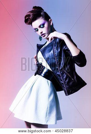 Beautiful Woman Dressed Elegant Punk Posing In The Studio