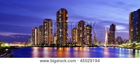 High rise residential apartments on Tsukushima in Tokyo, japan.