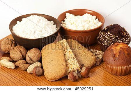 Tasty curd cheese, nuts and musli bars. Healthy food