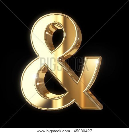 Golden 3D ampersand symbol
