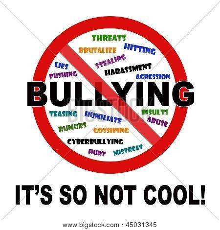 Bullying, it's so not cool sign