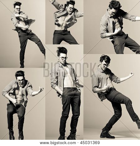 Sexy Man Model Playing Air-guitar And Making Funny Faces In The Studio - Retro Stylized