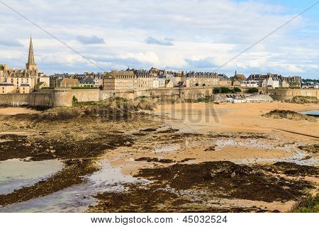 Saint Malo View On City Walls, France