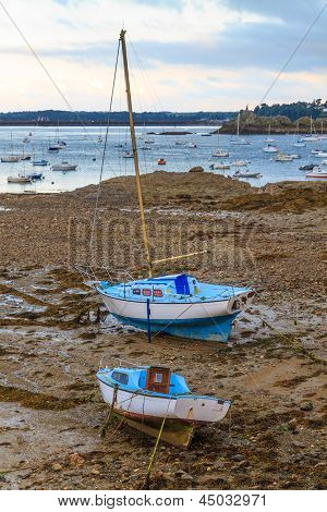 Sailing Boats At Ebb Tide Near St. Malo In Brittany, France