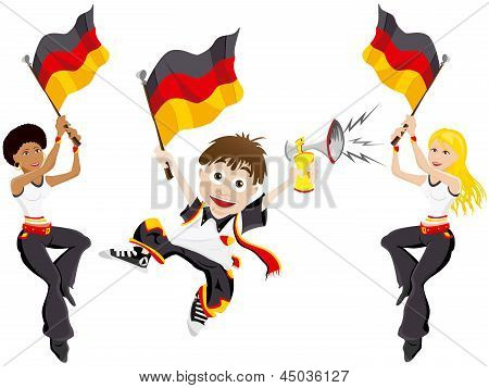 Germany Sport Fan With Flag And Horn