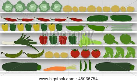 Supermarket Shelves Full Of Vegetables