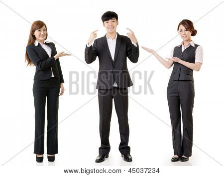 Happy smile business people, one man point himself and other women introduce him, full length portrait isolated on white background.
