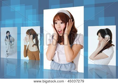 Asian young woman picture with happy, cheerful,surprised expression. Concept about tv , collection, gallery, lifestyle etc.