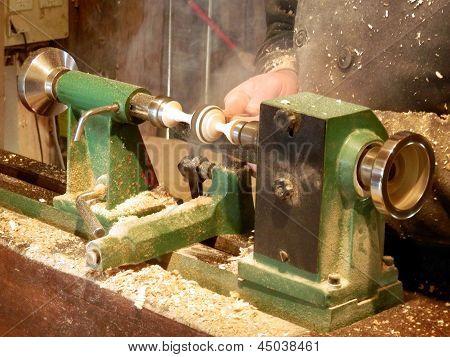 Woodturner at work