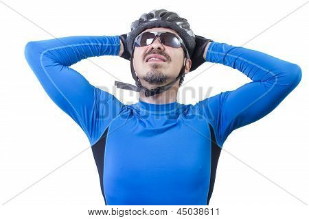 Adult Bicyclist Stretching Out