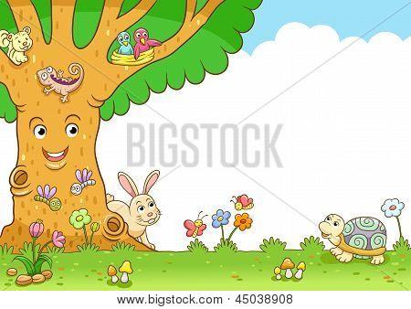 Tree And Animal Frame